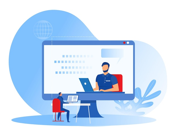 Coaching D'entreprise, équipe De Formation Des Employés, Vidéo D'apprentissage Sur Grand écran D'ordinateur.concept De Coaching De Webinaire En Ligne Vecteur Premium