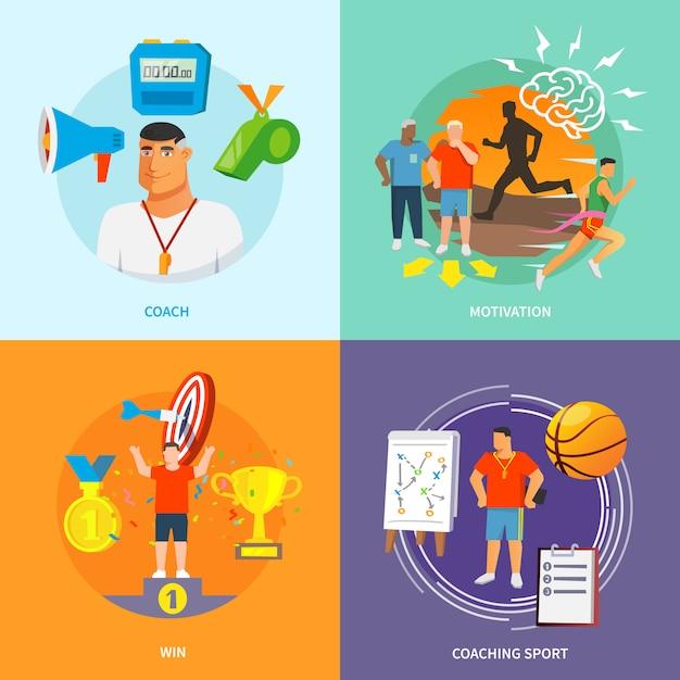Coaching Sport Plat Vecteur gratuit