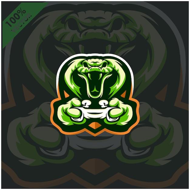 Cobra Gamer Tenant La Console De Jeu Joystick. Création De Logo De Mascotte Pour L'équipe Esport. Vecteur Premium