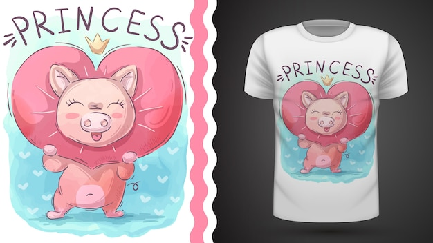 Cochon d'amour Vecteur Premium