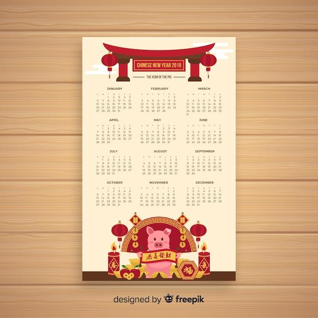 Cochon aux bougies calendrier du nouvel an chinois Vecteur gratuit