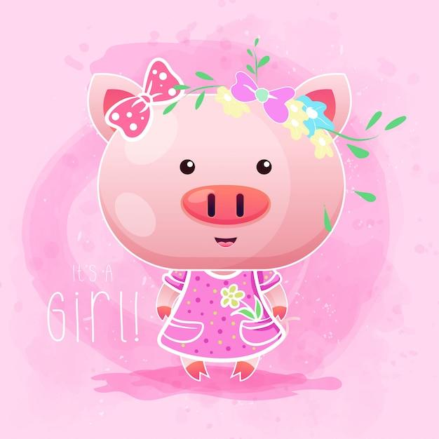 Cochon bébé fille mignonne avec fond rose. vecteur Vecteur Premium