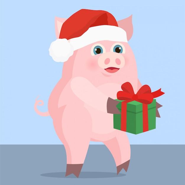 Cochon avec un cadeau Vecteur Premium