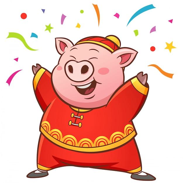 Cochon dessin animé Vecteur Premium