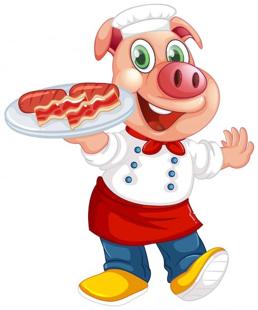 Cochon mignon dans une pose semblable à l'homme isolé Vecteur Premium