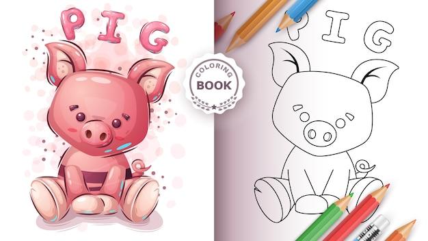 Cochon Mignon - Livre De Coloriage Pour Enfant Et Enfants Vecteur Premium