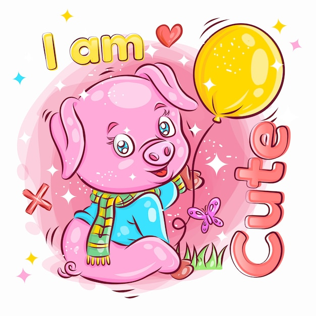 Cochon Mignon Tenir Et Jouer à Balloon.colorful Cartoon Illustration. Vecteur Premium