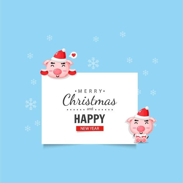 Cochon Mignon Avec Des Voeux De Noël Et Du Nouvel An Vecteur Premium