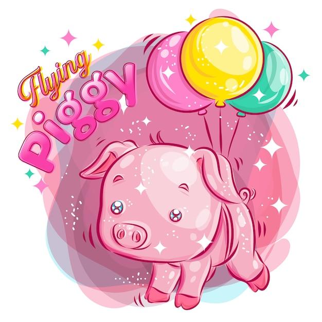 Cochon Mignon Volant Avec Balloon.colorful Cartoon Illustration. Vecteur Premium