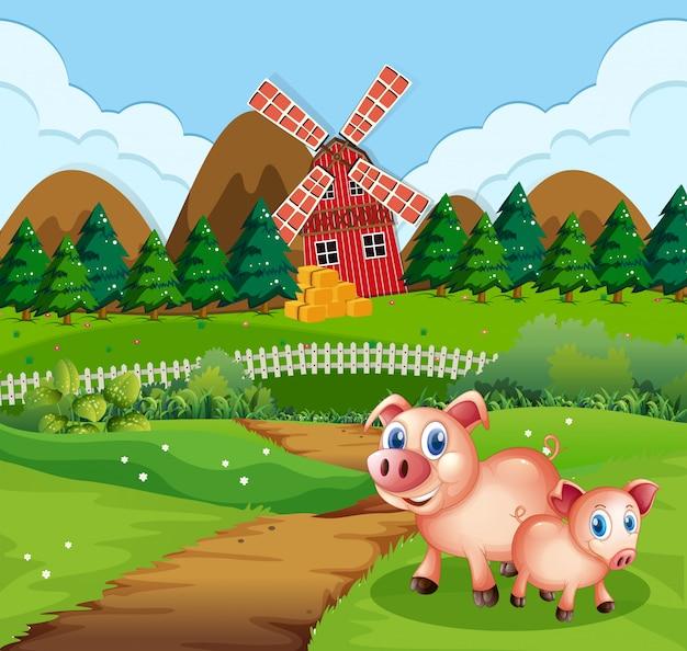 Cochon à la scène des terres agricoles Vecteur gratuit