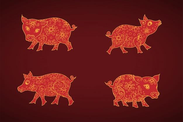 Cochons du zodiaque chinois, dessinés à la main Vecteur Premium