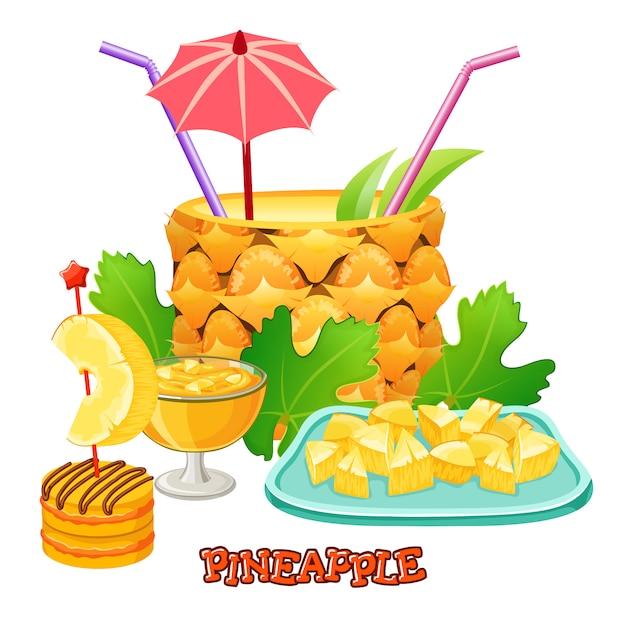 Cocktail d'ananas. desserts et jus de fruits. Vecteur Premium