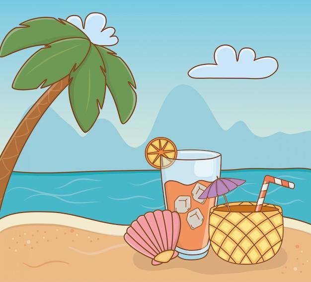 Cocktail à l'ananas et objets de la scène de plage Vecteur Premium