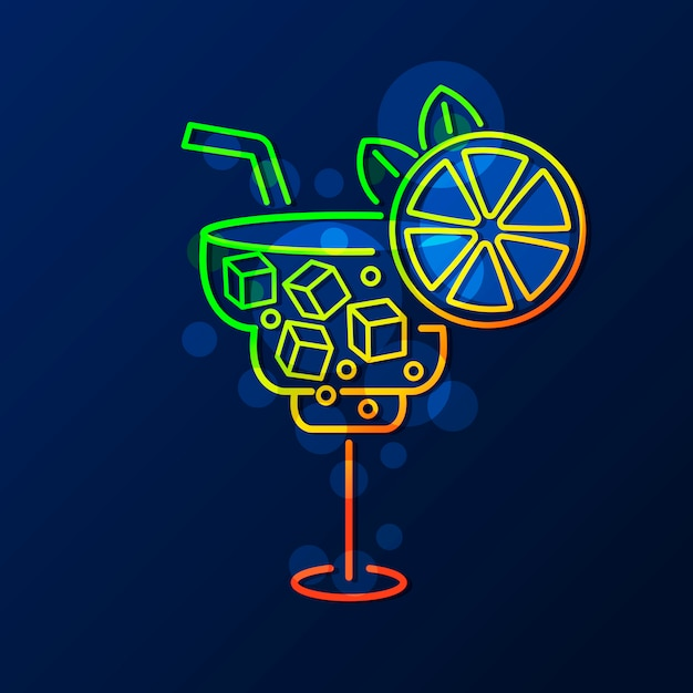 Cocktail au néon Vecteur Premium