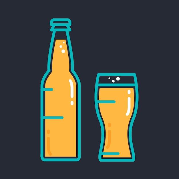 Cocktail bière froide ou bouteille de jus avec verre Vecteur Premium