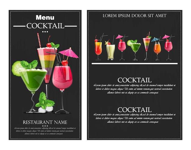 Cocktail boissons réaliste flyer bannière Vecteur Premium