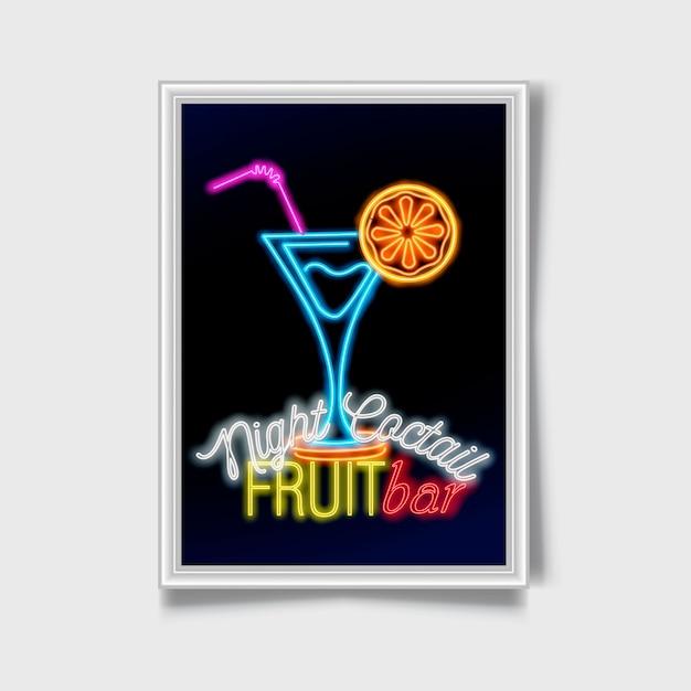 Cocktail chanter. néon signe de la ville. Vecteur Premium