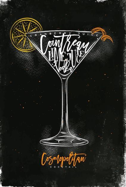 Cocktail Cosmopolite Lettrage Jus De Canneberge, Cointreau, Vodka, Citron Vert Dans Un Style Graphique Vintage Dessin à La Craie Et Craie Sur Fond De Tableau Vecteur Premium