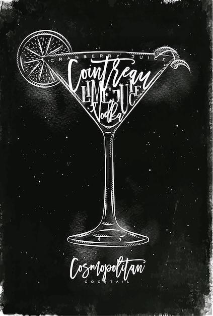 Cocktail Cosmopolite Avec Lettrage Sur Style Tableau Vecteur Premium