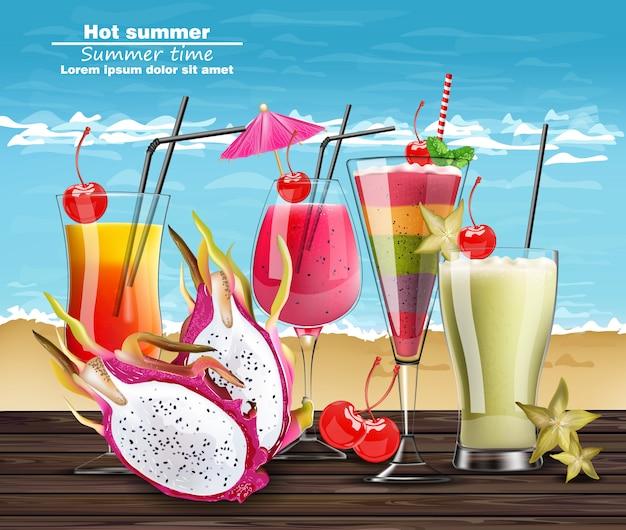 Cocktail d'été boit une bannière réaliste Vecteur Premium