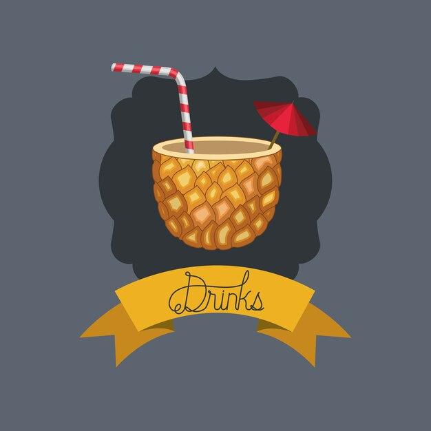 Cocktail frais et tropical à l'ananas Vecteur Premium