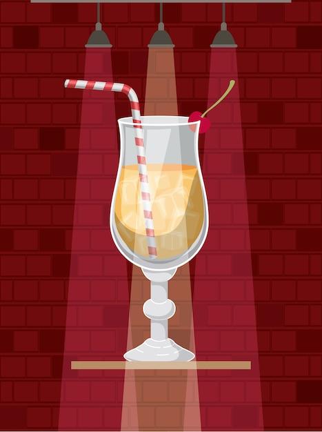 Cocktail frais et tropical Vecteur Premium