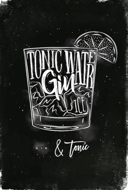 Cocktail Gin Tonic Avec Lettrage Sur Style Tableau Vecteur Premium