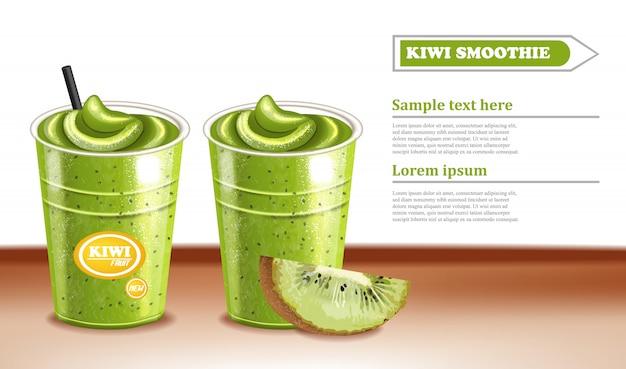 Cocktail kiwi smoothie Vecteur Premium