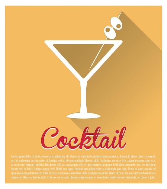 Cocktail martini fond jaune Vecteur Premium