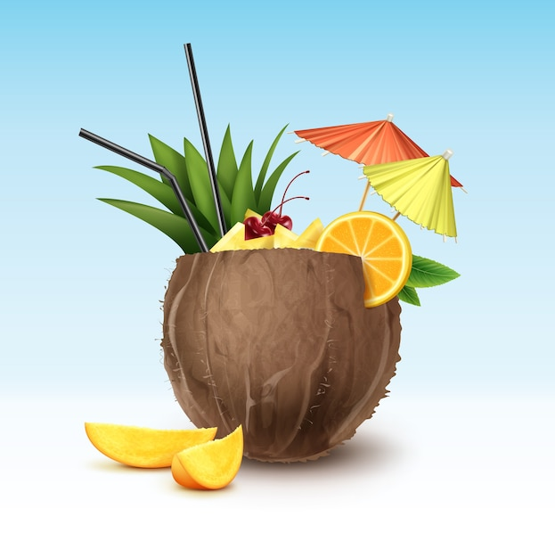 Cocktail De Noix De Coco De Vecteur Garni De Cerise Au Marasquin, Quartiers D'ananas, Tranche D'orange, Tubes De Paille Noire Et Parapluies De Fête Verts Et Roses Isolés Sur Fond Vecteur gratuit