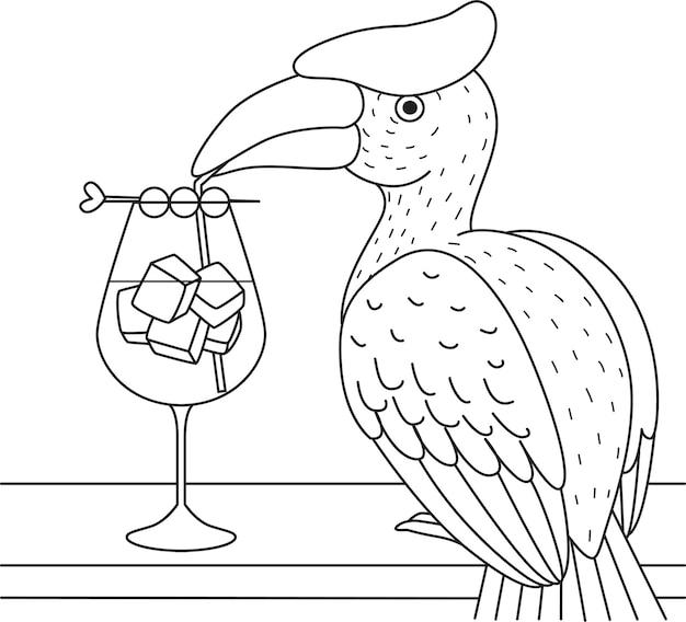 Cocktail D'oiseaux Calao Pour Cahier De Coloriage, Coloriage. Illustration Vecteur Premium