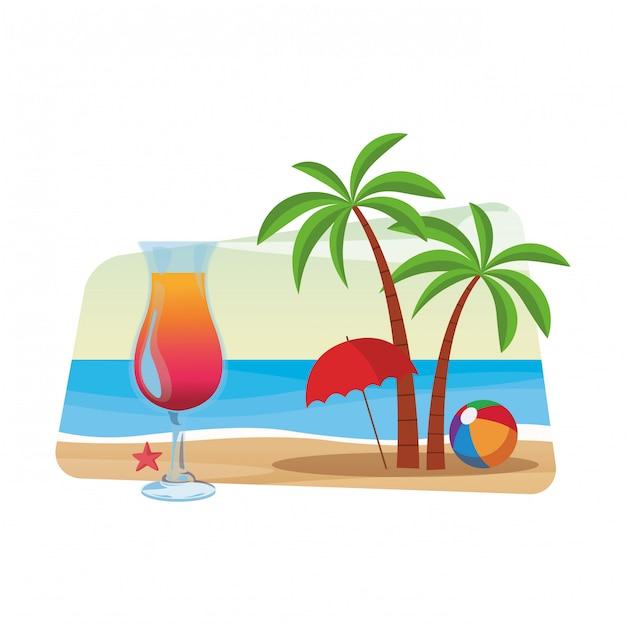 Cocktail et palmier Vecteur Premium