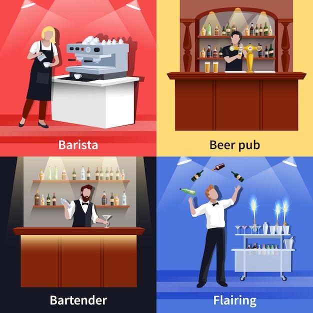Cocktail people icon set Vecteur gratuit