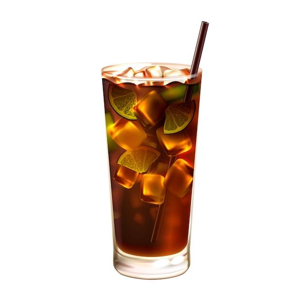 Cocktail de thé glace longue île réaliste Vecteur gratuit