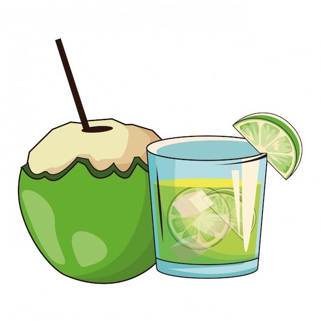 Cocktail verre et noix de coco Vecteur Premium