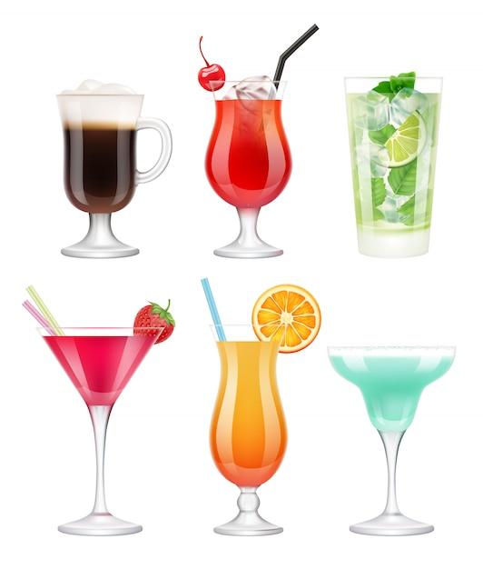 Cocktails Alcoolisés. Verres Avec Boissons Fruits Tropicaux Décorés De Modèle Réaliste De Vodka Martini Margarita Bleu Vecteur Premium