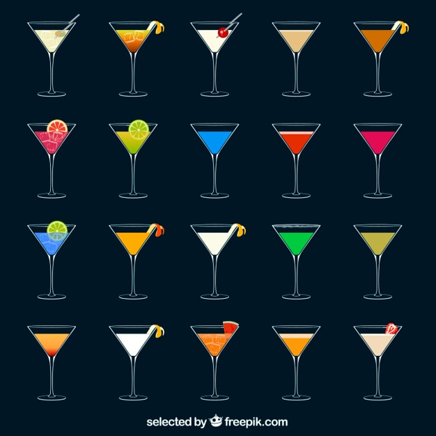Des cocktails colorés Vecteur gratuit