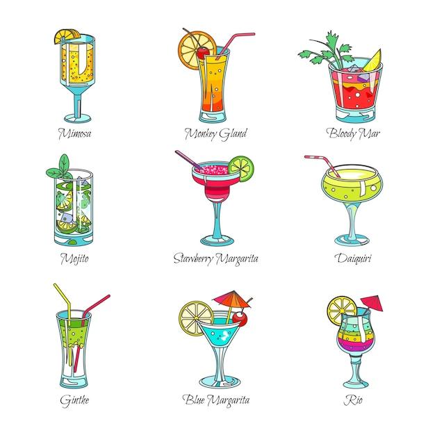 Cocktails dans des verres de boissons exotiques Vecteur Premium