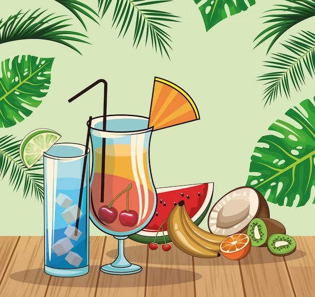 Cocktails tropicaux Vecteur Premium