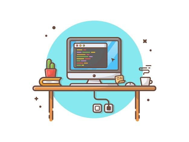 Codage de l'espace de travail de programmeur avec cactus, café et livre vector illustration-art Vecteur Premium
