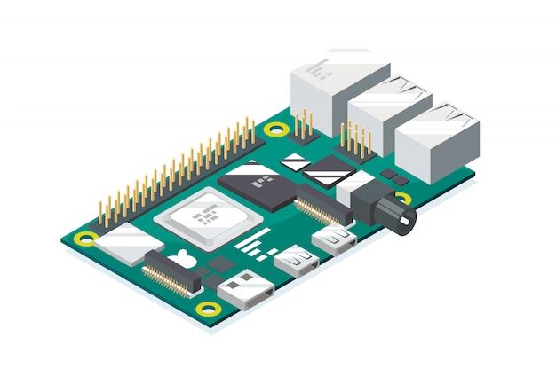 Codage Micro-ordinateur Raspberry Pi Vecteur Premium