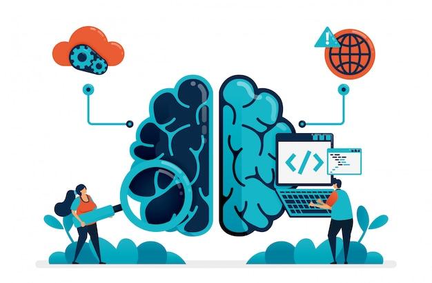 Codage pour créer un programme d'intelligence artificielle. à la recherche d'un bug dans un robot cérébral artificiel. technologie intelligente sur l'intelligence artificielle. internet des objets. Vecteur Premium