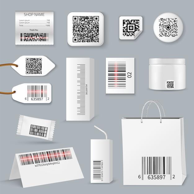 Code à Barres Qr Utilisant Le Jeu D'icônes De Numérisation Vecteur gratuit