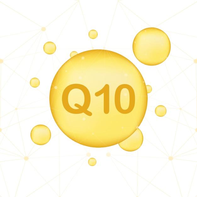 Coenzyme Q10. Icône D'huile Vecteur Or. Capsule De Pilule De Goutte D'enzyme Vecteur Premium