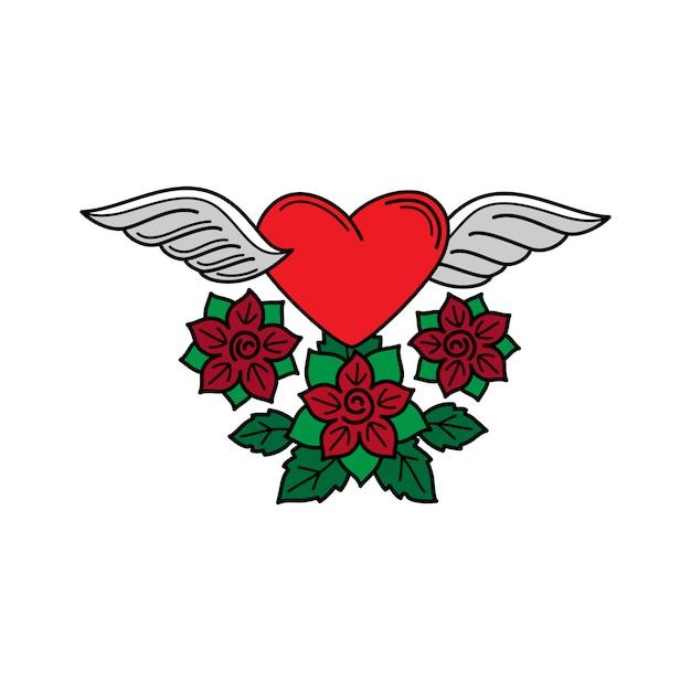 Coeur avec ailes et roses tatoo Vecteur Premium