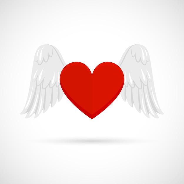 Coeur Avec Des Ailes Vecteur gratuit