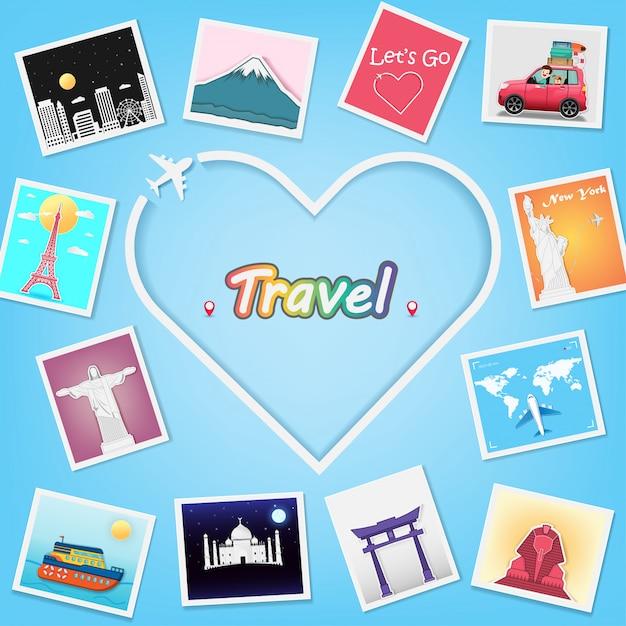 Coeur d'avion et album photo avec éléments de voyage. Vecteur Premium
