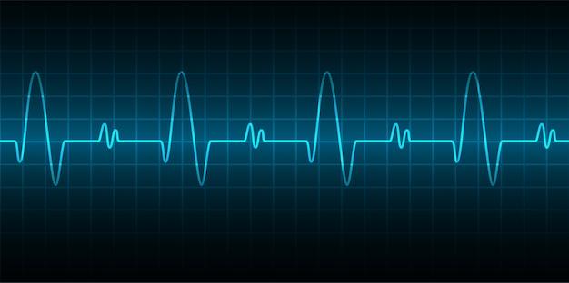 Coeur bat fond de cardiogramme Vecteur Premium