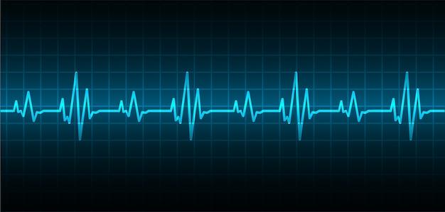 Coeur bat le fond de cardiogramme Vecteur Premium