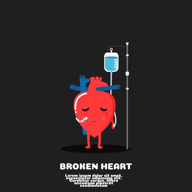 Coeur brisé dessin animé cœur de blessure concept mauvais amour Vecteur Premium